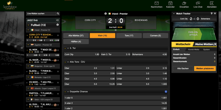 Spin Palace Sports Livewetten