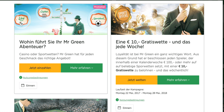Mr Green Sportwetten Aktionen