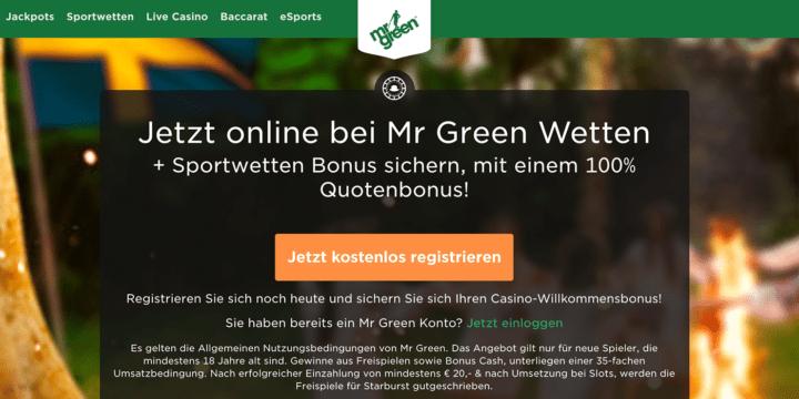 Mr Green Sportwetten Bonus