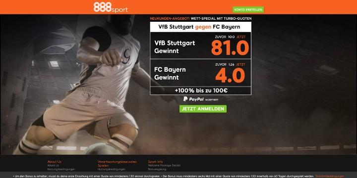 888Sport - Das Wett-Special Stuttgart gegen Bayern mit Turbo-Quoten