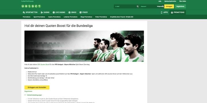 Der Quoten-Boost von Unibet für das Spiel Stuttgart gegen Bayern