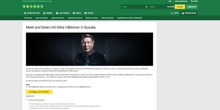 Gewinne bei Unibet ein treffen mit Mika Häkkinen in Suzuka