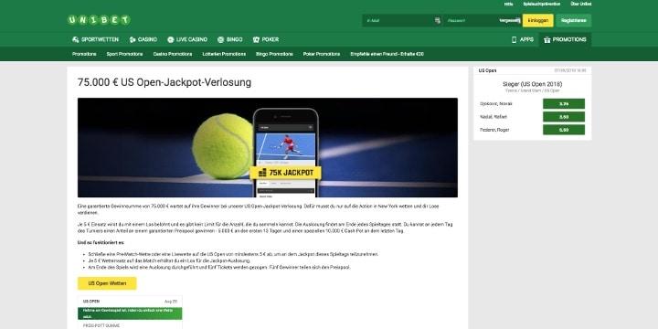 Die 75.000€ US Open Jackpot Verlosung beim Wettanbieter Unibet