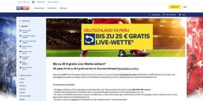Sky Bet - Live-Gratiswette für Deutschland vs Peru sichern